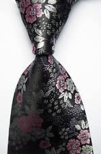 New Classic Floral Black Pink White JACQUARD WOVEN 100% Silk Men's Tie Necktie
