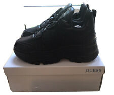 Guess Women Sneaker Trainer Black Wedge Support Lace Up Eu38 U.K. 5