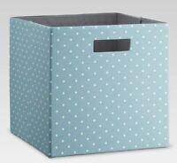 Threshold Cube Storage Bin Basket Organizer Cubby Blue w/ White Polka Dot Handle
