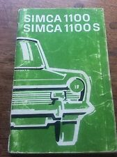 Chrysler Simca 1100 1100S Owners Handbook Instruction Car Service Manual