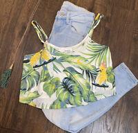 June & Hudson Tropical Print Crop Top Tank Blouse Size XS Parrot 🦜