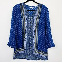 W-Lane Womens Top Tunic Blue Paisley Viscose Button Front Long Sleeve Size 12