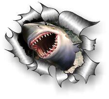 CLASSIC Ripped Open Torn Metal Rip & Great White Shark Bite vinyl car sticker