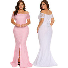 Plus size off shoulder lace gown formal ceremony wedding womens dress cocktail