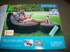 Intex 68564EP Inflatable Ultra Lounge Chair With Cup Holder And Ottoman Set Gray
