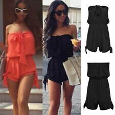 Women Plus Size Beach Wear Bikini Cover Up Holiday Strapless Mini Jumpsuit Dress