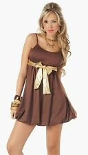 4051 Sexy Women Brown Gold Cocktail Ultra Mini DRESS Club wear Party S Small
