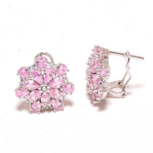 """Madagascar Pink Topaz, White Topaz 925 Sterling Silver Jewelry Earring 0.75"""" (1)"""