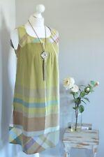 "JACQUELINE RIU Green boho check metallic smock tunic dress ""40"" medium"
