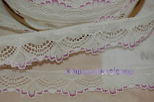 5mtrs of 1in Flat White Lace FAN design with Lilac Trim - produced in Nottingham