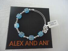 Alex and Ani OCEAN SQUARE HALO Bracelet Russian Silver New W/Tag Card & Box