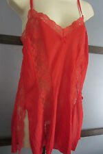 Vintage  00004000 Lingerie by Undercover Wear Lace Inserts Nylon Red Sexy Side Slits