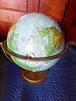 Grande mappemonde vintage en relief-Scan Globe A/S Danemark-carton et métal-70