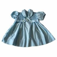 Vintage Infant Girls Baby Blue Smocked Easter Peter Pan Collar Size 3 Months