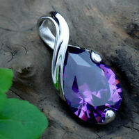 Modish Women's Silver Purple Gemstone Amethyst Pendant Crystal Wedding Jewelry