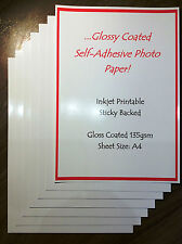 x5 sheets A4 135gsm GLOSSY GLOSS SELF ADHESIVE PAPER INKJET PRINTABLE STICKYBACK