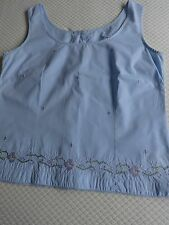 Ladies 100% Cotton Sleeveless button back embroidered top by Berkertex - Size 14