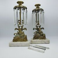 Pair of Vintage Brass & Crystal Girandoles with Female Figures