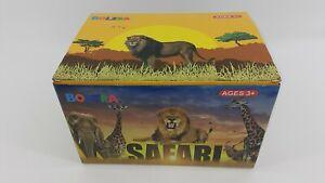 BOLZRA Safari Animals Figurines Toys with Activity Play Mat & Trees Bath Toys