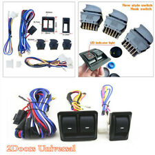 Car Door Panels Mount Power Window Glass Lift Switch Kit w/Wire Harness Cable