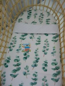 Sheet and Blanket Set Eucalyptus Leaves 100% Cotton  FITS STANDARD BASSINET
