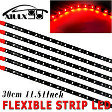 6X 15 SMD 12V 30CM High Power Waterproof Car Motor Flexible LED Light Strip Red