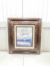 Vintage Signed Vase Of Flowers Floral Painting Framed Colorful Beautiful Oil