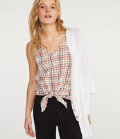 NWT Women's Lou & Grey Plaid Tie Front Tank Top Color: Pink Multi Size Small S