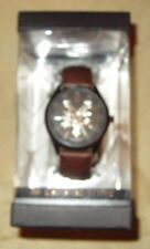 BRAND NEW BOXED ZOO YORK MENS WATCH BROWN BAND BLACK DIAL SILVER GEAR LOGO 53686