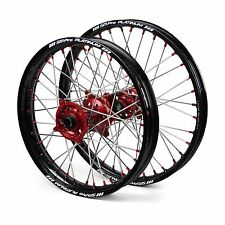 "Honda CRF250R 2002 2003 2004 2005 2006 Wheels Set Red Black 18"" 21"" Wheel Rims"