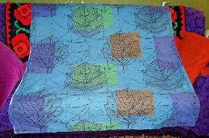 Original 50s Lucienne Day blue leaf Linden large length cotton fabric