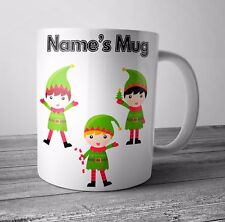 Personalised Mug / Cup - Elf 1- Christmas Gift / Secret Santa  - Any NAME