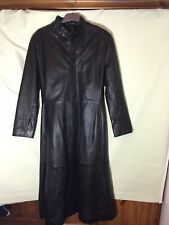 Arm's Womens Black Real Leather Trench Coat Jacket M(291)