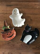 Longaberger Pottery Halloween Party Dishes (Set of 3) Ghost Pumpkin Cat