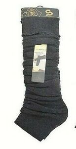 Women's Fall Winter Leg Warmers Over The Knee One Size Solid Black W Lines New