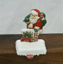 Christmas Stocking Holder Hanger Santa in Chimney Solid Cast Iron Holiday Mantle