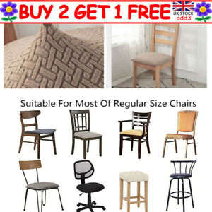Stretch Chair Seat Covers Removable Dining Chair Seat Cushion Slipcover UK