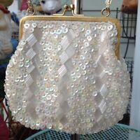 Vintage Cream Ivory Handmade Sequin Beaded Purse Handbag Evening Bag 50s 60s