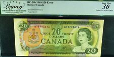 ERROR BANKNOTE ,OFFSET PRINTING  1969 $20, BANK OF CANADA
