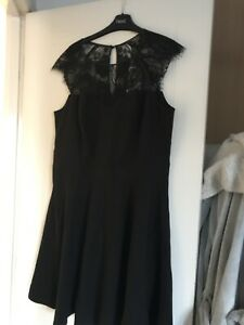 Lipsy Dress Size 16 Black Fit And Flare Lace Bnwt
