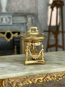 Vintage Miniature Dollhouse Artisan Gilt Metal Muses Chafing Stand Covered Dish