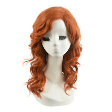 Women Orange Copper Wigs Brown Curly Medium Length Hair Cosplay Party Full Wig