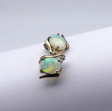 GOLD JEWELLERY, SOLID 14 CARAT GOLD EARINGS WITH SOLID WHITE OPAL, DIAMOND 8699
