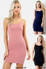 Tank top cami short dress adj spaghetti strap casual cotton stretch S-M-L-XL