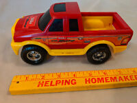 1980s Tonka Toy Pickup Truck Rally Sport Speed Racing 254 Plastic Red Yellow VTG