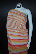 Linen Jersey Knit Fabric Ecofriendly Natural multicolor stripes print horizontal