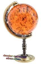 Bronze Solid Brass Baltic Amber Figurine Globe of the Sun Miniature