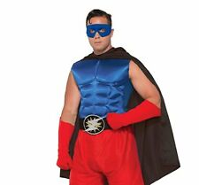 New Superhero Blue Costume Muscle Chest Adult Men Standard Halloween One size