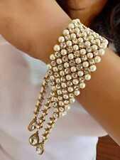 Indian Bollywood Antique Rhinestone Pearl Chain Hand Cuff Bracelet Jewelry