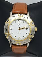 Mens Oleg Cassini Two Tone Case Brown Leather Strap Quartz Watch 31-979 A8